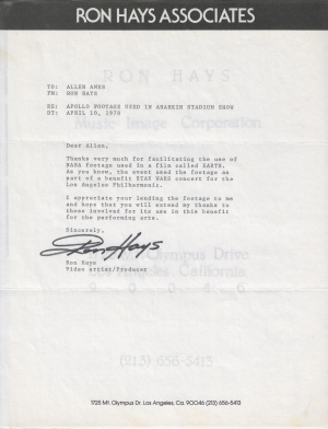 Ron Hays NASA Letter STAR WARS Concerts