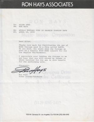 Ron Hays NASA Letter STAR WARS Concerts